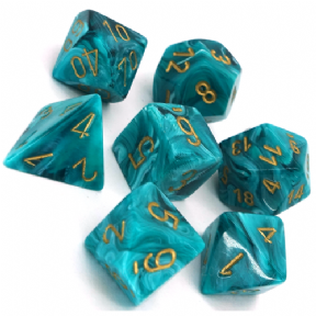 Teal & Gold Vortex Polyhedral 7 Dice Set